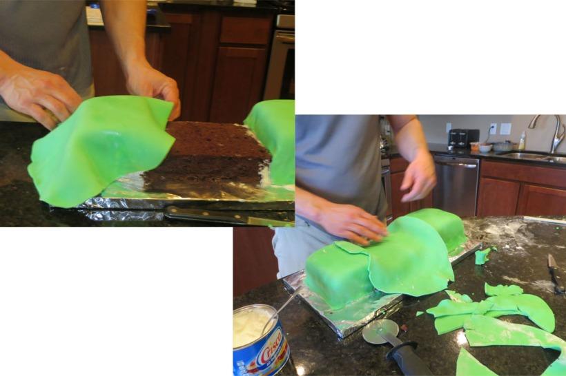 Creeper cake placing fondant